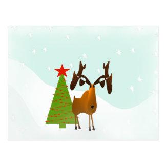 Alces del navidad tarjeta postal