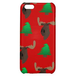 Alces del navidad y cubierta de Iphone del árbol
