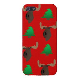Alces del navidad y cubierta de Iphone del árbol iPhone 5 Funda