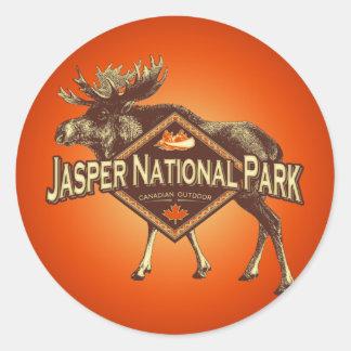 Alces del parque nacional de jaspe pegatina redonda