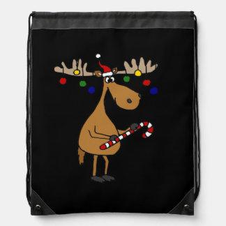 Alces divertidos del navidad con los ornamentos mochilas