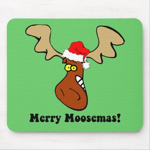 Alces divertidos del navidad mouse pads