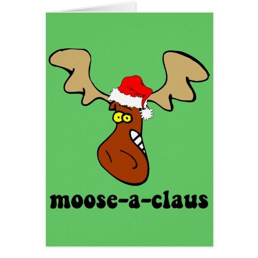 Alces divertidos del navidad tarjeta de felicitación