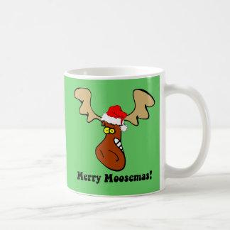 Alces divertidos del navidad tazas de café
