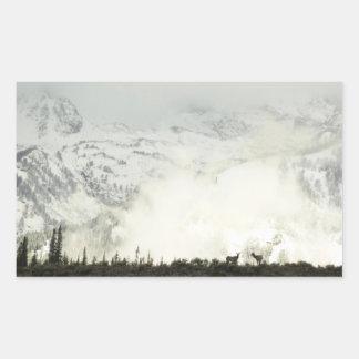 Alces en el parque nacional magnífico de Teton Rectangular Pegatinas