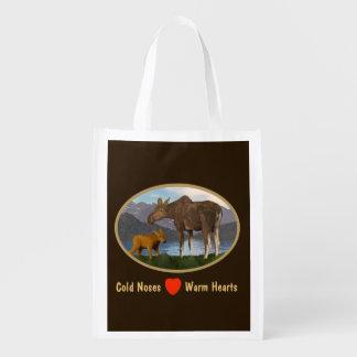 Alces en el prado bolsas reutilizables