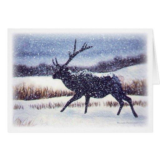 Alces en la fauna del invierno de la nieve tarjeta de felicitación