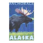 Alces en la noche - Anchorage, Alaska Impresion De Lienzo
