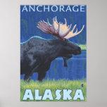Alces en la noche - Anchorage, Alaska Póster