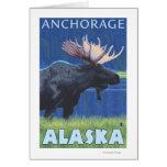 Alces en la noche - Anchorage, Alaska Tarjeta De Felicitación
