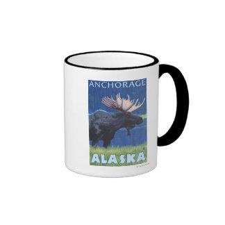 Alces en la noche - Anchorage Alaska Taza De Café