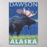 Alces en la noche - Dawson, Alaska Póster