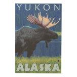 Alces en la noche - el Yukón, Alaska Cuadros De Madera
