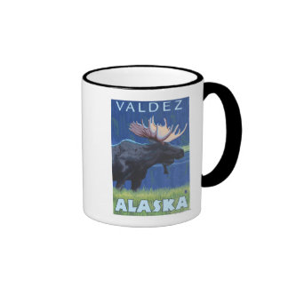 Alces en la noche - Valdez Alaska Taza