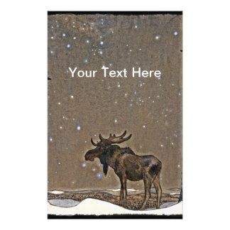 Alces en nieve personalized stationery