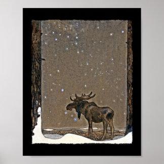 Alces en nieve póster