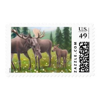 Alces en un franqueo septentrional del bosque timbres postales