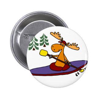 Alces Kayaking divertidos Pin Redondo De 2 Pulgadas