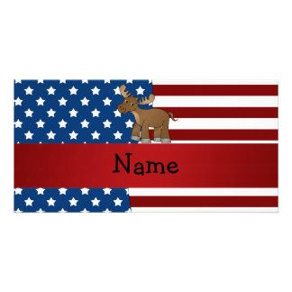 Alces patrióticos conocidos personalizados tarjeta personal