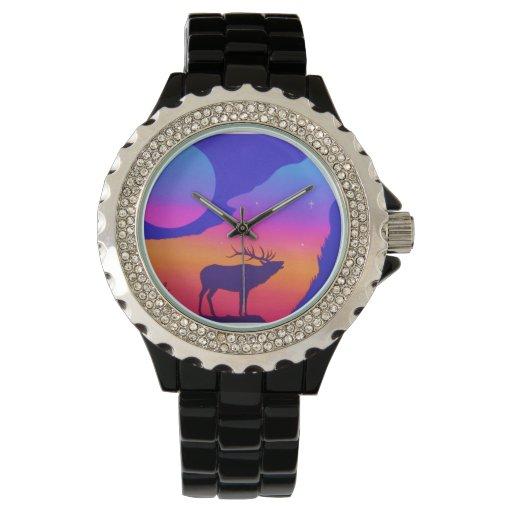 Alces, puesta del sol relojes de pulsera