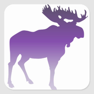 Alces púrpuras calcomania cuadradas