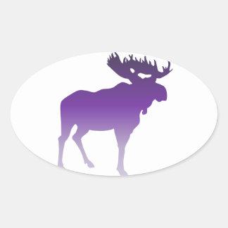 Alces púrpuras pegatinas ovaladas personalizadas