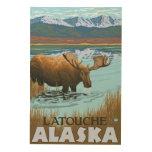 Alces que beben en el lago - Latouche, Alaska Impresión En Madera