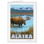 Alces que beben en el lago - Latouche, Alaska Tarjeta De Felicitación
