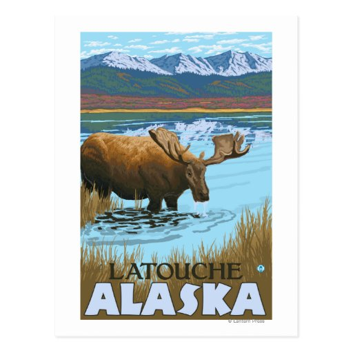 Alces que beben en el lago - Latouche, Alaska Postal