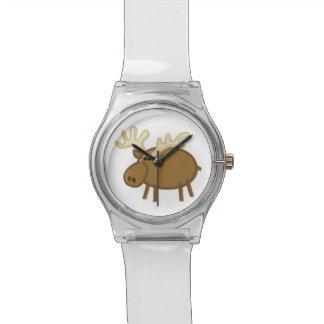 Alces/reno divertidos en blanco reloj de mano