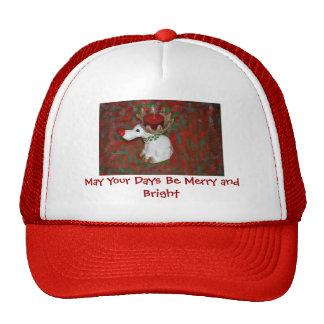 Alces rojos del reno de la nariz del navidad gorras