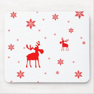 Alces rojos y copos de nieve rojos - Mousepad Tapete De Ratón