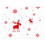Alces rojos y copos de nieve rojos - postal