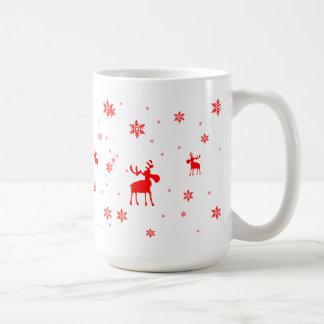 Alces rojos y copos de nieve rojos - taza