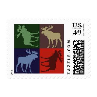 Alces rústicos coloridos cuatro sellos cuadrados