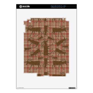Alces rústicos del marrón de la tela escocesa calcomanías para el iPad 2