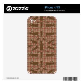 Alces rústicos del marrón de la tela escocesa calcomanías para iPhone 4S