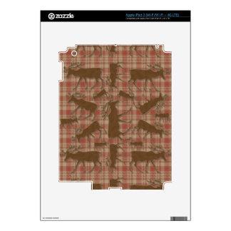 Alces rústicos del marrón de la tela escocesa iPad 3 skins