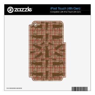 Alces rústicos del marrón de la tela escocesa iPod touch 4G skin
