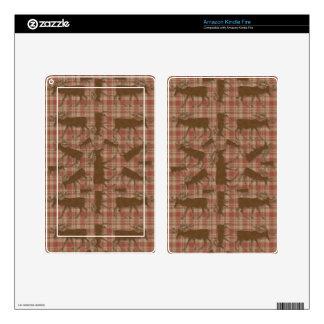 Alces rústicos del marrón de la tela escocesa kindle fire skins