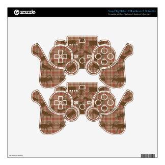 Alces rústicos del marrón de la tela escocesa mando PS3 calcomanía