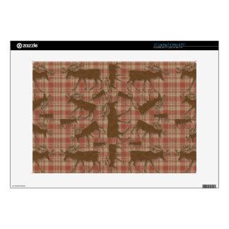 Alces rústicos del marrón de la tela escocesa portátil calcomanías