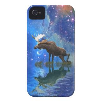 Alces salvajes y caja estrellada del teléfono iPhone 4 Case-Mate funda
