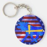 Alces Sueco-Americanos Llavero Redondo Tipo Pin