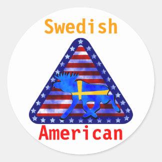 Alces Sueco-Americanos Etiqueta Redonda