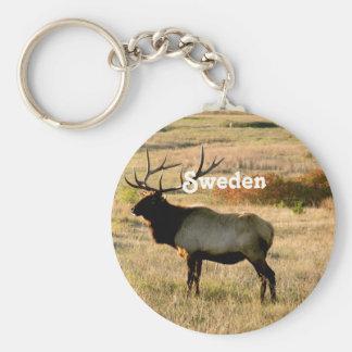 Alces suecos llavero redondo tipo pin