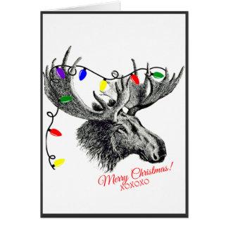 Alces tontos del navidad con las luces del día de tarjeta