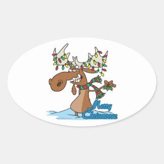 alces tontos del navidad del feliz chrismoose lind colcomanias de óval