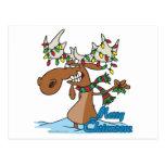 alces tontos del navidad del feliz chrismoose lind tarjeta postal