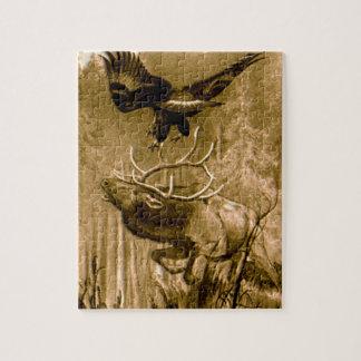 Alces y dibujo de Eagle Rompecabezas Con Fotos